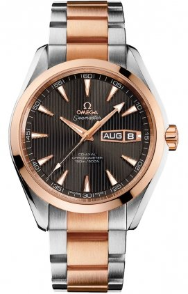 Omega-Aqua-Terra-Annual-Calendar-Grey-Dial-Stainless-Steel-18kt-Rose-Gold-Mens-Watch-23120432206001