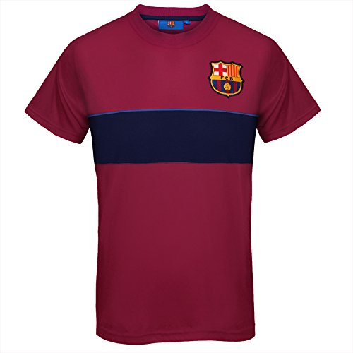 (FC Barcelona Official Gift Mens Poly Training Kit T-Shirt Red Stripe Small)