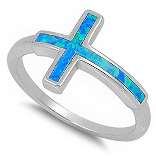 Oxford Diamond Co Lab Created Blue Opal Sideways Cross .925 Sterling Silver Ring Size 10