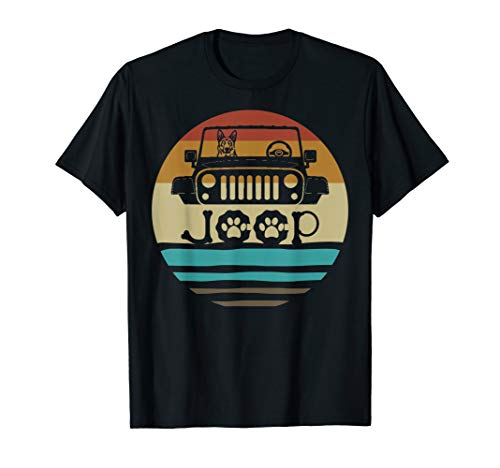 - Retro Vintage German Shepherd Dog on Jeeps 70s Off Road Gift T-Shirt
