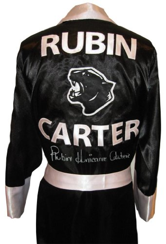 "Rubin""Hurricane"" Carter Signed Black Panther Robe - Autographed Boxing Robes and Trunks"