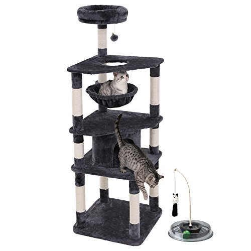 "SONGMICS 66"" Multi-Level Cat Tree with Cat Toys (Track Ball and Teaser Wand) Sisal-Covered Scratching Posts, Basket and Condo, cat Tower for Kittens Smoky Gray UPCT66G Review"
