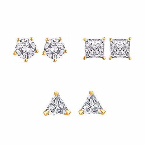 Efulgenz-White-Gold-Plated-Stud-Earrings-For-WomenPack-Of-3Pairs
