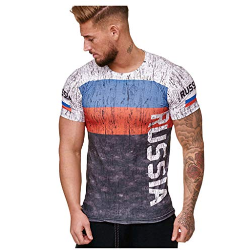 Mens Short Sleeve T-Shirt Cool 3D Print Shirts Football Club Men's T-Shirt Vintage World Cup Jersey Soccer T-Shirt (L, Gray5)