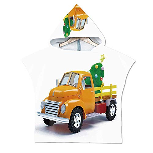 Christmas Soft Hooded Beach Bath Towel,Yellow Vintage Truck and Decorated Tree with Star Topper Old Farm Motor for Teenagers & Children,29.5''W x 43.3''H
