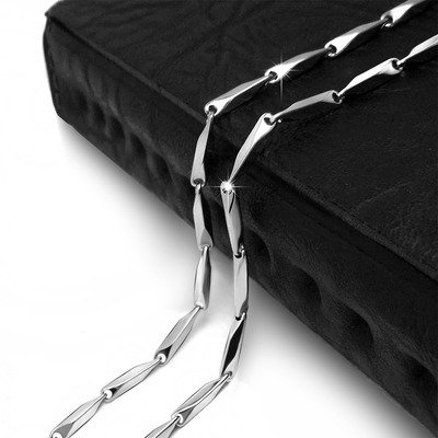 y steel_strand_with_single-stranded_stick_ diamond necklace Pendant steel_three-dimensional_bevel_ chain_CE362 ()