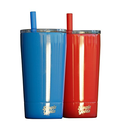 Simple Goods 2 Pack Kids Stainless Steel Sippy Cup Tumbler with Straw, Lid & Bag (Midi, 12 oz, Red/Blue 2 Pack) (Straws With Cups Kids Drinking)