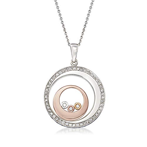 Ross-Simons 0.30 ct. t.w. Diamond Floating Circle Pendant Necklace in 14kt Tri-Colored Gold