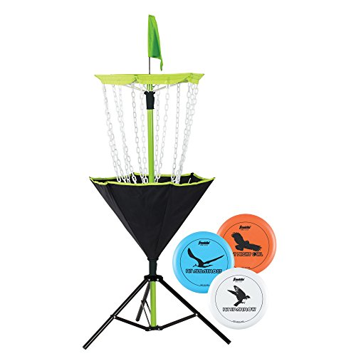 Franklin Sports Disc Golf Set - Disc Golf - Includes Disc Golf Basket, Three Golf Discs and Carrying Bag (Chairs Yard Target)
