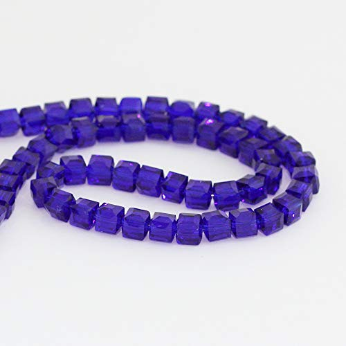 2 Strands Top Quality Czech Cube Crystal Glass Loose Beads 8mm Cobalt Blue (~138-144pcs) for Jewelry Craft Making Supplies ()