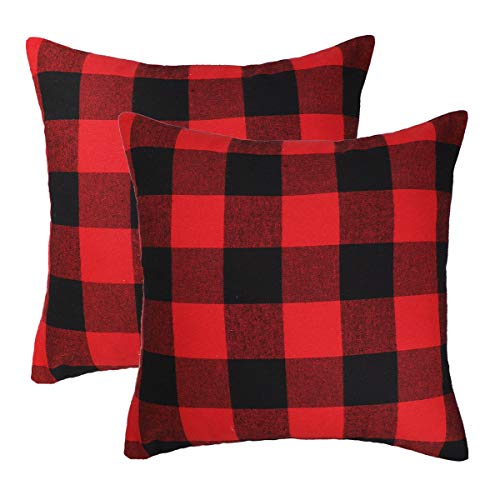 Pillow Checkered (4TH Emotion Christmas Red and Black Buffalo Check Plaid Throw Pillow Case Cushion Cover Valentine's Day Decor Cotton Polyester for Sofa 18 x 18 Inch Set of 2)