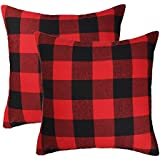 4th emotion christmas red and black buffalo check plaid throw pillow case cushion cover holiday decor