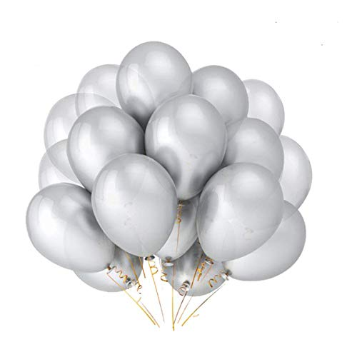 Silver Balloons Hovebeaty 12 Inches thicken Latex Metallic Balloons 100 Pack for Wedding Party Baby Shower Christmas Birthday Carnival Party Decoration -