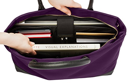 Archer Brighton Isabel Women's Laptop & Tablet Zip Tote, Women's 15.6 & 17 Inch Business Computer Briefcase Bag with Crossbody, Leather Canvas Organizer Handbag Purse for Work, Travel (Bilberry) by Archer Brighton (Image #3)