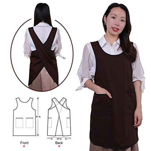 Cross Back Apron Convenient Wear, ONEISALL Cooking Kitchen Apron with Front Pockets and X-Shape Design - Soft Cotton Linen Chef Apron (Brown) (Convenient Front Pocket)