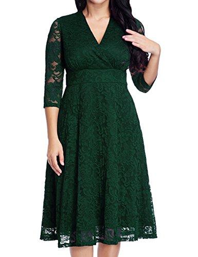 GRAPENT Women's Lace Plus Size Mother Of The Bride Skater Dress Bridal Wedding Party Green 26W