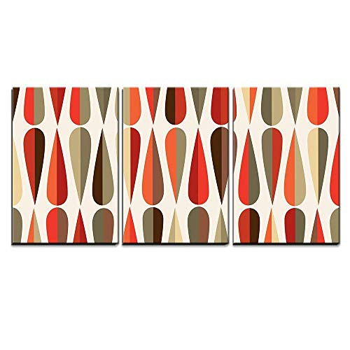 Retro Style Seamless Pattern Wall Decor x3 Panels