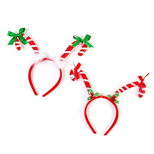 2 Pack - Candy Cane Head Bands - Great For Holiday Parties, Couples, Decorations, and Gifts
