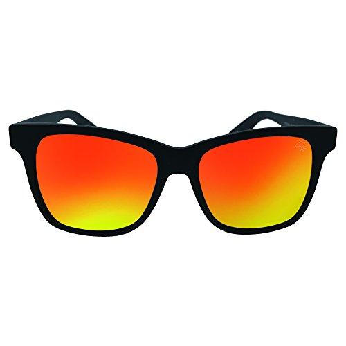 Tuff Sunglasses New York Black Matte Wayfarer Orange Mirrored Lens - Tuff Sunglasses