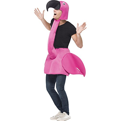 Pink Flamingo Adult Costume – Halloween Costume With Attachable Head, Over Clothes Costume, Party Accessory – Pink, One Size