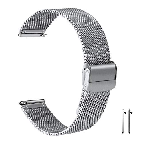 21mm Watch Band 21mm Mesh Watch Band Stainless Steel Watch Strap Silver Wristband Fold-Over Clasp Buckle