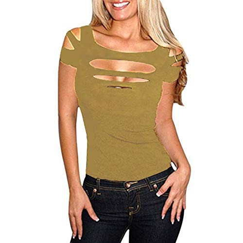 - Suimiki Women's Slashed Ripped Cut Out Clubwear Party Shirt Stretchy Blouse Top (Large, Brown)