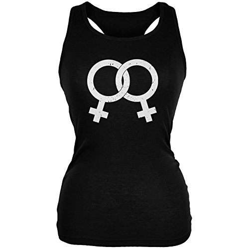 Lesbian Pride Distressed Symbol Black Juniors Soft Tank Top - Large (Top Tank Juniors Pride)