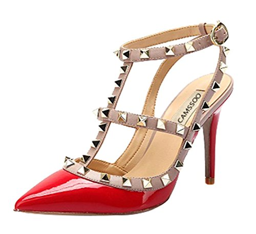 Women's Classic Studded Strappy Pumps Rivets High Heels Stiletto Sandals T-Strap Shoes Red/Beige Patent PU Size US8.5 EU40 - Patent High Heel Stiletto Sandals