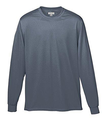 Augusta Sportswear Soccer Shirt - Augusta Sportswear Wicking Long Sleeve T-Shirt, Small, Graphite