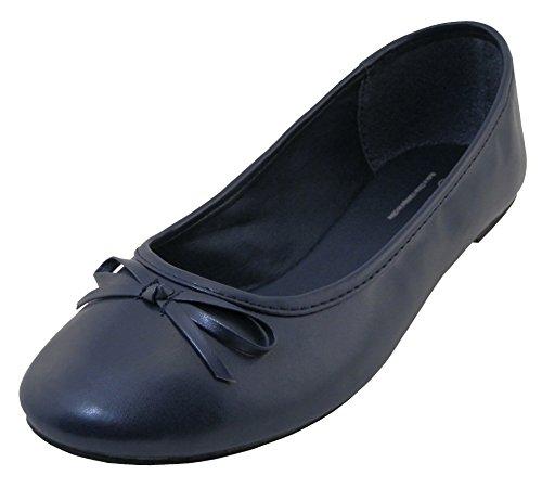 Flats Toe Bow Round (Cambridge Select Women's Classic Slip-On Closed Round Toe Bow Ballet Flat,8 B(M) US,Navy Pu)