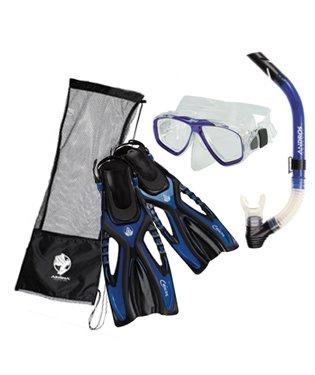 Akona Adult Snorkeling Set Mask Snorkel Fin Package, Yellow, LG/XL