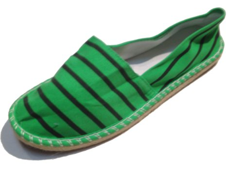 Gestreepte Espadrilles - Spaanse Alpargatas - Opstap - Dekschoenen - Canvas - Diverse Kleuren Groen