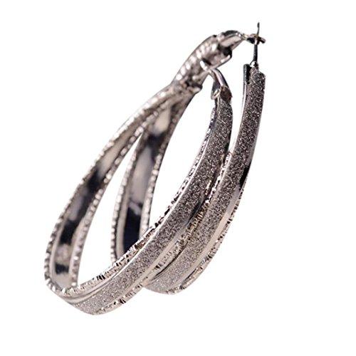 Besooly Earrings Women Women Jewelry Dull Polish Drop Round Dangle Drop Party Big Hoop Earrings  Silver