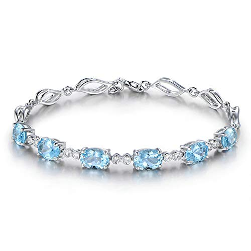 EoCot Women Custom Silver Plated Oval Blue Topaz Double Zircons Bangle Bracelet for Women