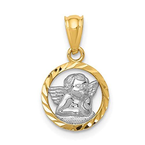 14k Two-Tone Yellow Gold Cherub Angel in Open Round Faceted Border Pendant 13x11mm