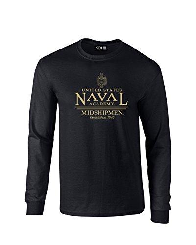NCAA Navy Midshipmen Classic Seal Long Sleeve T-Shirt, Medium, Black