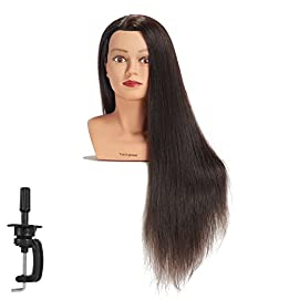 Traininghead 28-30″ 100% Human Hair Mannequin Head Hairdressing Training Practice Head Hair Styling Cosmetology Manikin Doll Head With Clamp (Blond)