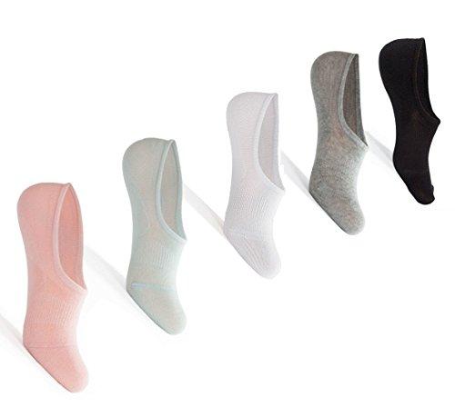 5pares no show calcetines para mujer algodón cómodo antideslizante plana barco calcetines de corte bajo de línea,  Pure...