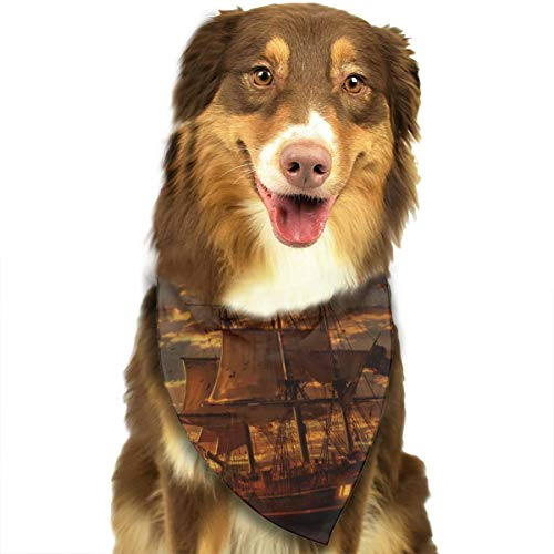 (KZEMATLI Dog Bandana Scarf Sunset Seaside Sailboat Triangle Bibs Printing Kerchief Set Accessories Dogs Cats Pets)