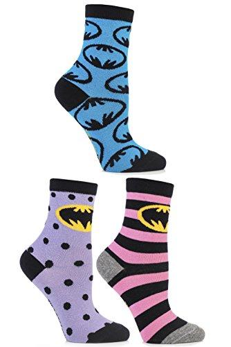 SockShop Women's 3 Pair Batman Striped, Spotty and All Over Motif Cotton Socks 6-10 Assorted (Batman Sock Women)