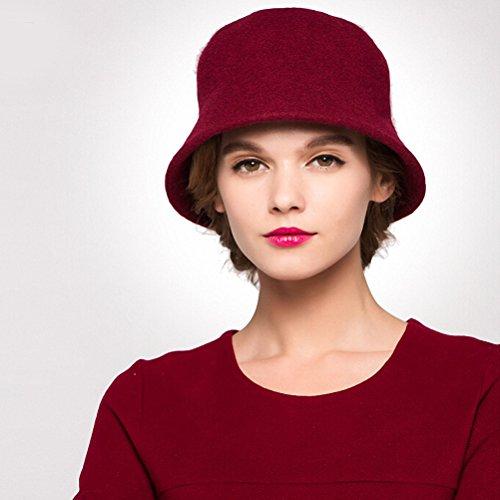 "Maitoseâ""¢ Women's Simple Wool Felt Bucket Hat Wine Red"