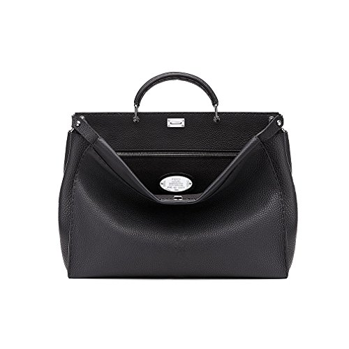 Fendi Womens Tote (Fendi Peekaboo Black Roman Calf Leather Handbag Made in Italy)