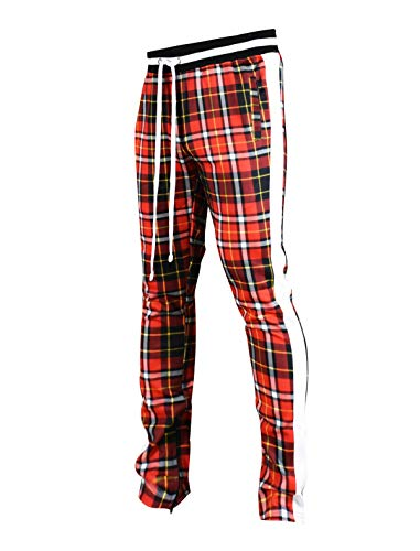 - SCREENSHOTBRAND-P41902 Mens Hip Hop Premium Slim Fit Track Pants - Athletic Jogger Checker Pattern Print Taping Bottoms-Red-Medium