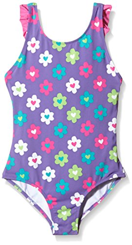 Hatley Summer Garden (Hatley Girls' Little Flower Garden Ruffle Swimsuit, Purple, 2)