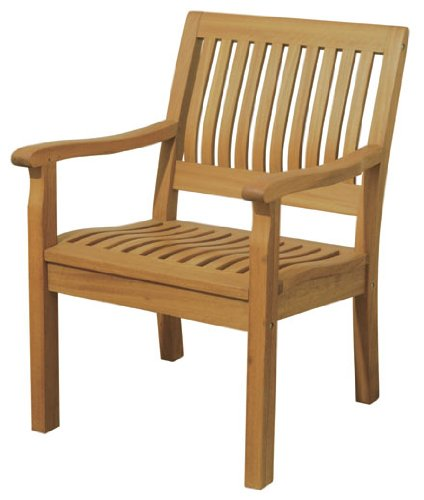 Arboria Patio Outdoor Armchair Classic Design With Ergonomic Seat Premium Eucalyptus Hardwood (Patio Wooden Chairs)