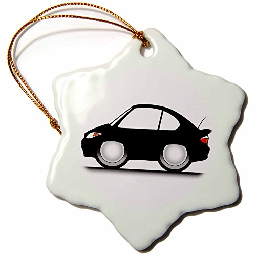 Car Funny One Tree (3dRose Mark Grace CARTOON CARS tc - funny toon tc, black car on road, on white background - 3 inch Snowflake Porcelain Ornament (orn_81009_1))
