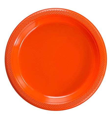 Exquisite 10 Inch. Orange Plastic Plates for Parties - Solid Color Disposable Plates - 50 Count by Exquisite