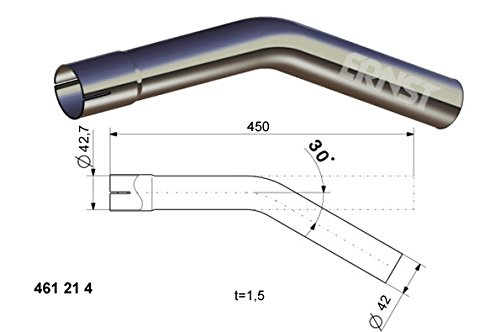 /à/˜ 42 mm Au/à/Ÿendurchmesser Auspuff Rohrbogen 30 /° Grad L/änge 450 mm einseitig aufgeweitet /à/˜ 38 42 45 50 55 60 65 mm Auswahl: