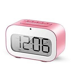 Alarm Clock, LED Emoji Travel Alarm Clock / Smart Desk Clock / Candy-Colored Digital Clock for Kids Battery Operated (Pink)