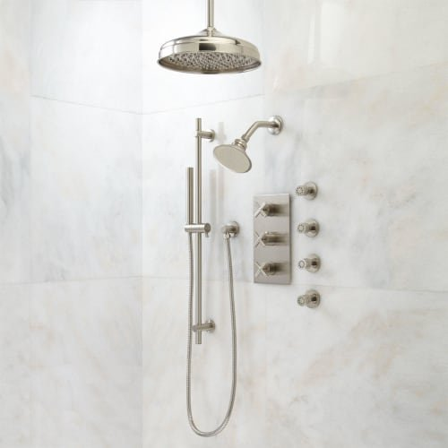 "393106 Exira Thermostatic Shower System with 12"" Rainfall Shower Head, Wall Mounted Shower Head, Hand Shower, and 4 Body Sprays - Rough In Included"